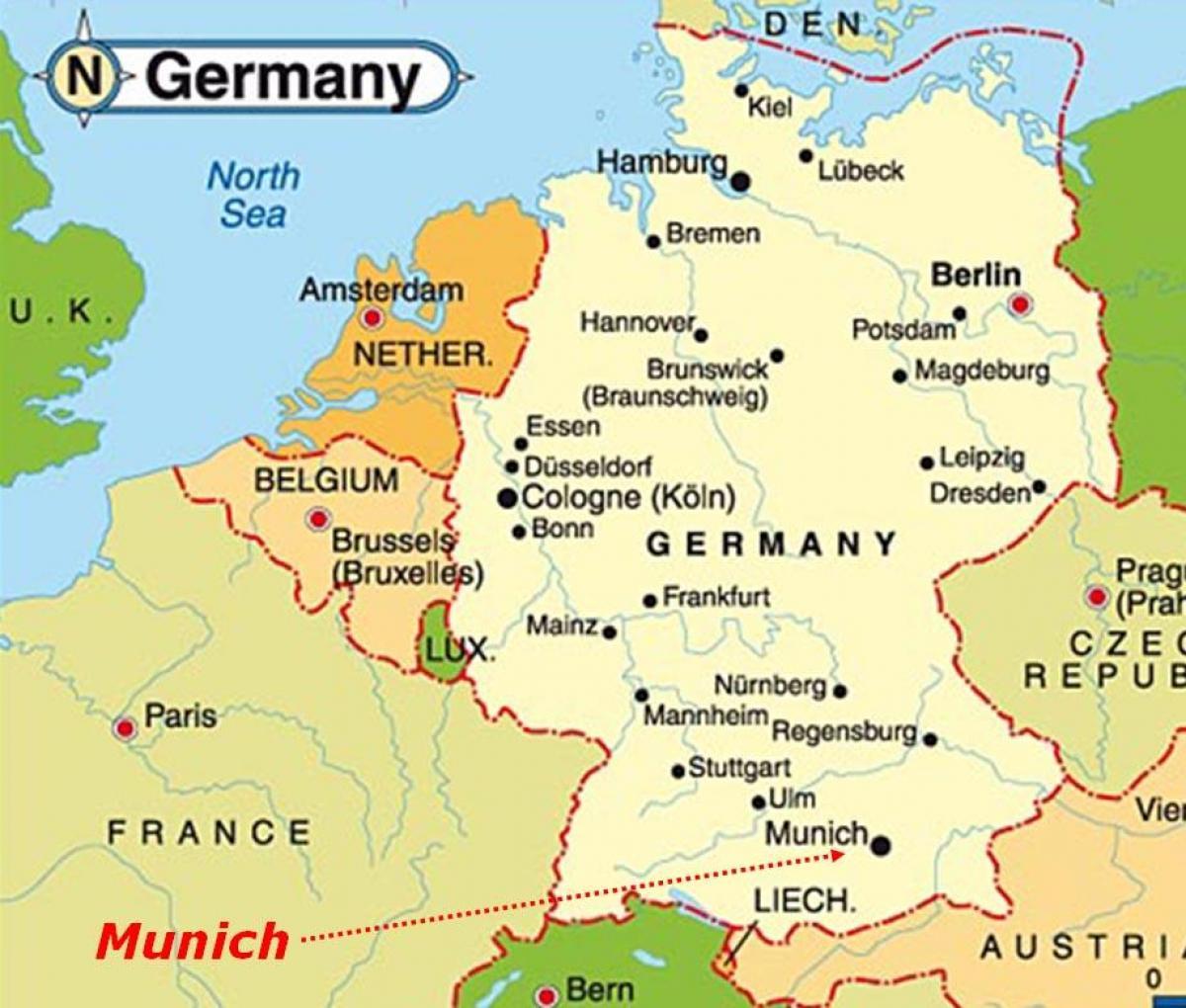 Munchen Harta Europei Harta Munchen Europa Bavaria Germania